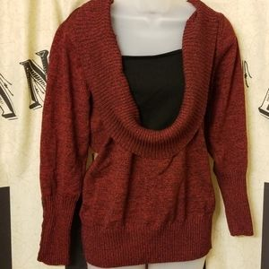 roz and ali deep dark red cowl neck sweater